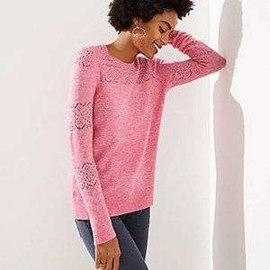 Loft Lacy Pointelle Sweater, Bright Pink Melange